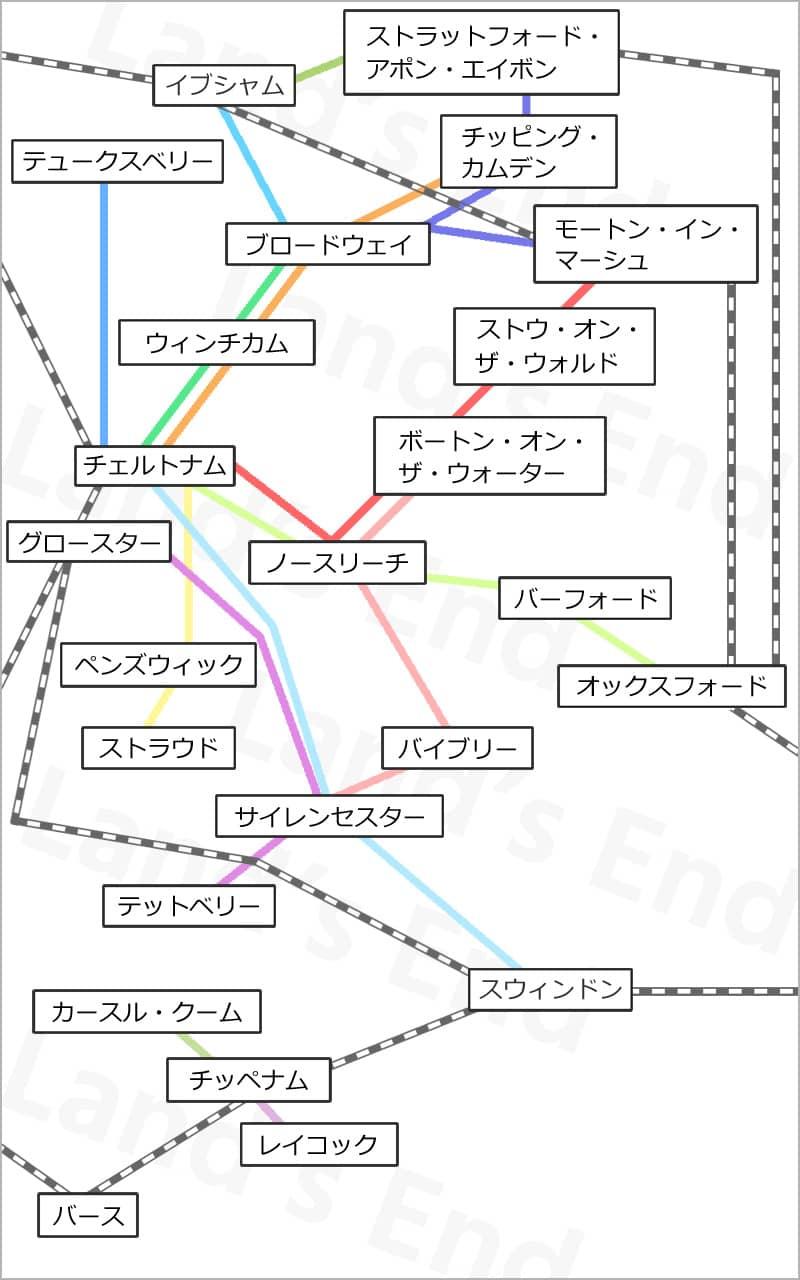 コッツウォルズのバス路線図
