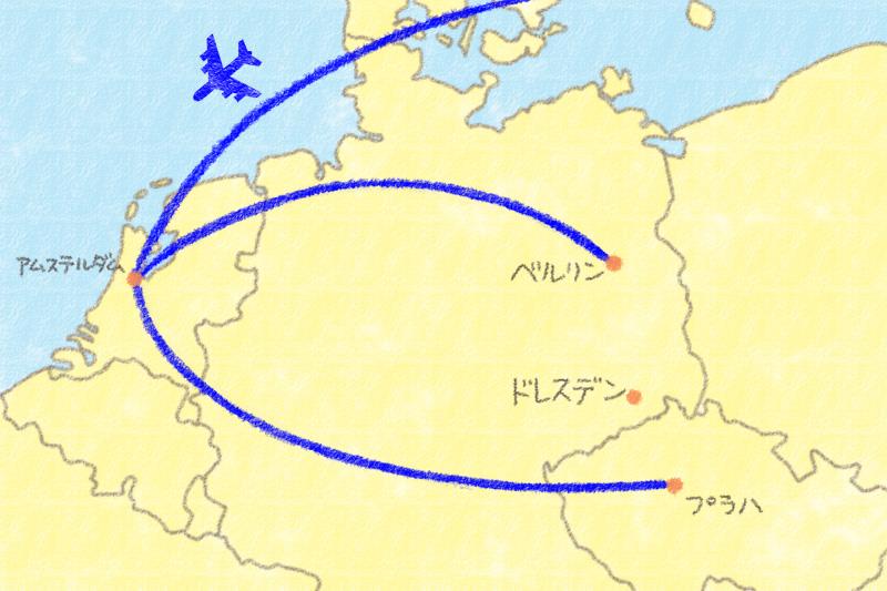 チェコ・ドイツ旅行のフライトルート