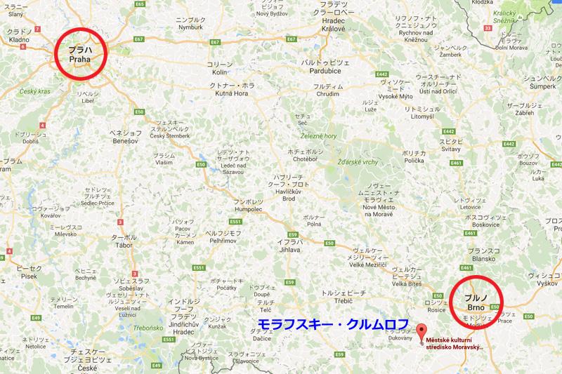 チェコの地図、ブルノ近郊のモラフスキー・クルムロフ