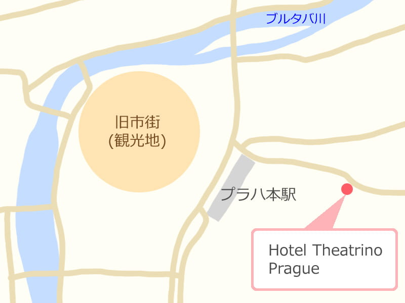プラハの地図、ホテルの場所