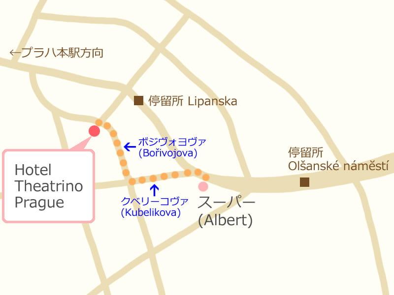 プラハ、ホテル周辺の地図