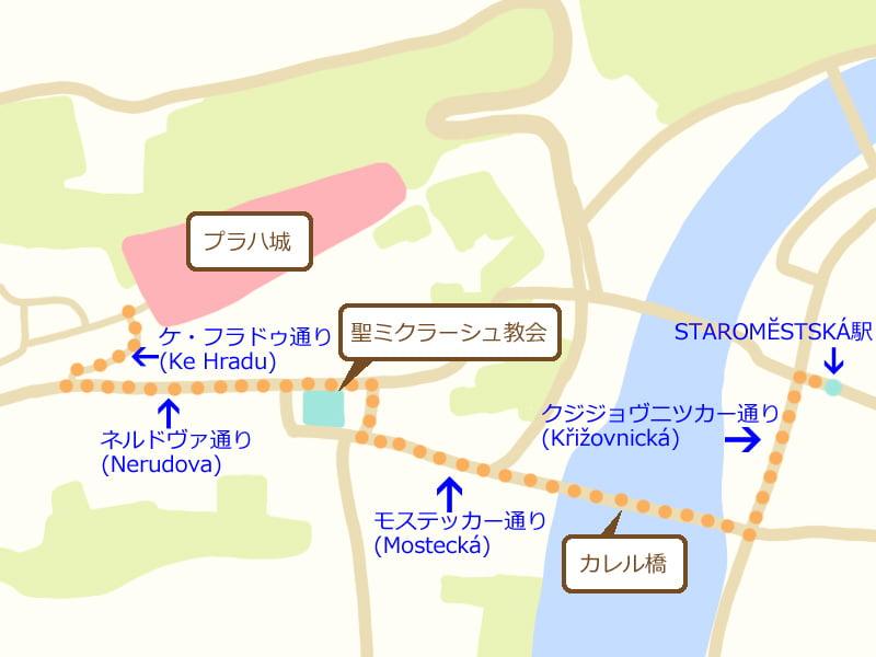 プラハ地図、プラハ城への行き方