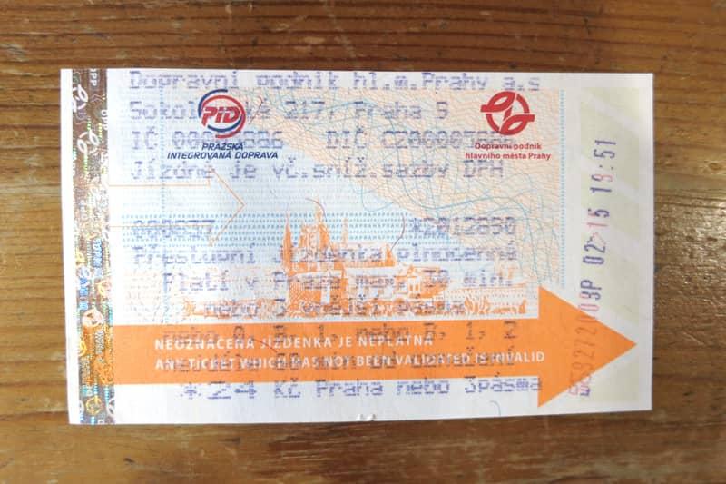プラハ市内交通の乗車券、1回券