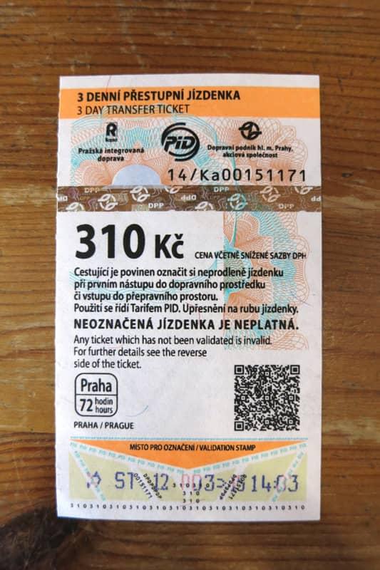 プラハ市内交通の乗車券、フリーパス券