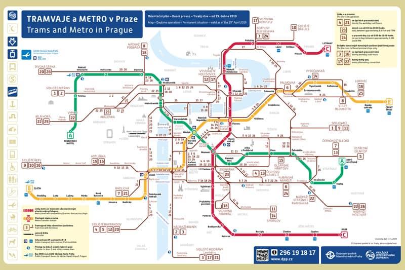 プラハの地下鉄とトラムの路線図